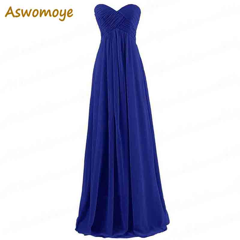 ASWOMOYE 2018 New Fashion Strapless Evening Dress Long Chiffon Wedding Party Dress Criss-Cross robe de soiree Custom Size