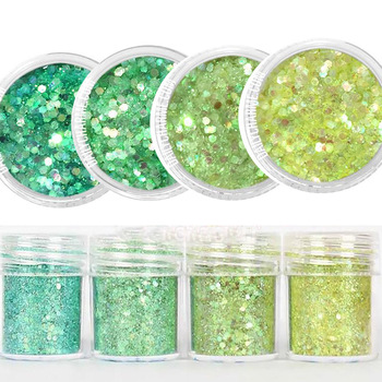 4 Colors Tinker Fairy Iridescent Glitter Mix Set / Fine glitter for cosmetic /face 1 Box 10M Yellow Green Arrow chunky glitter image