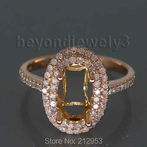 Vintage Oval 5x9mm 14kt Rose Gold Ring Natural Semi Mount Engage Ring R0014