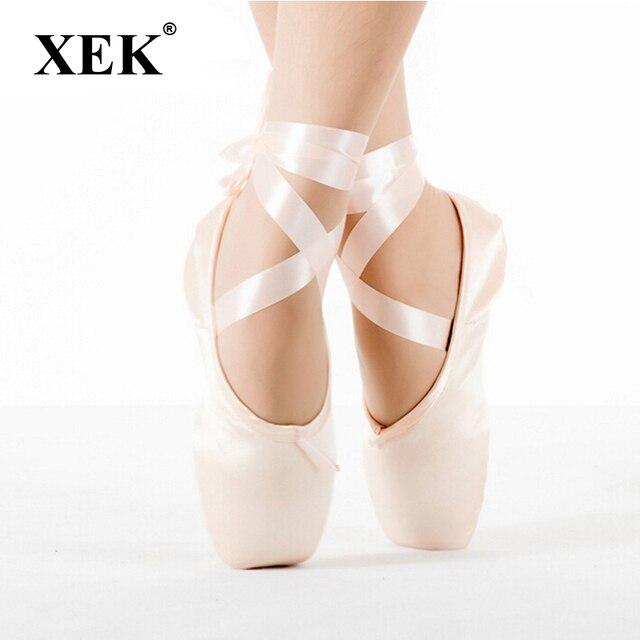 dfc5bd2e99ee 2017 Балетные пуанты для детей и взрослых, женские балетные туфли с  лентами, женская ...