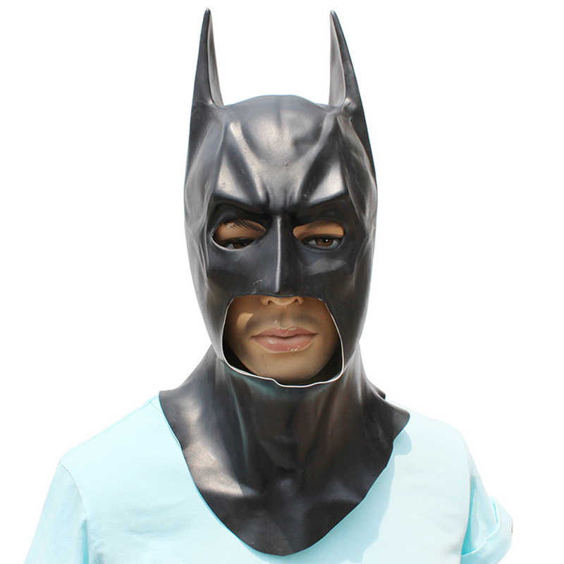 คอสเพลย์ที่สมจริง Full Face Latex Batman หน้ากาก Superhero Dark Knight Rises หน้ากากพรรค Carnival Cosplay Props