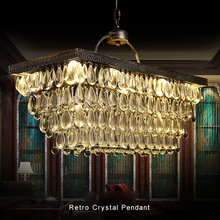 LED Crystal Chandelier American Retro Crystal Chandeliers Lights Fixture Home Indoor Lighting Country Vintage Hanging Lamp crystal chandeliers lighting home lighting fixtures ring led chandelier lamp modern lights fixture hanging lustres led luminaire