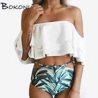 Print Floral White Bikini 2017 Girl Swimsuit Bathing Suit Women High Waist Off Shoulder Brazilian Bikini