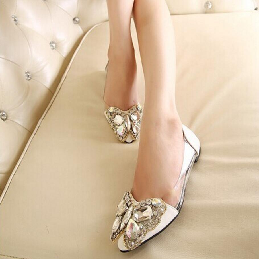 Primavera  nueva moda rhinestone arco señaló zapatos planos zapatos de Las Mujer