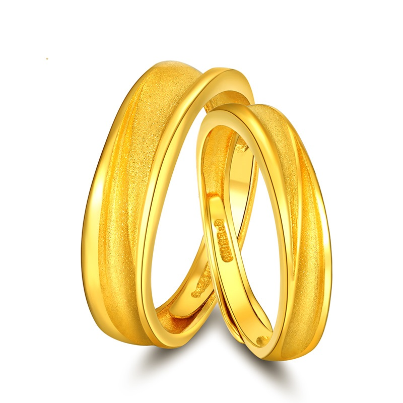 Pure and Solid 999 Gold Ring Men And Women Simple Couple Lovers