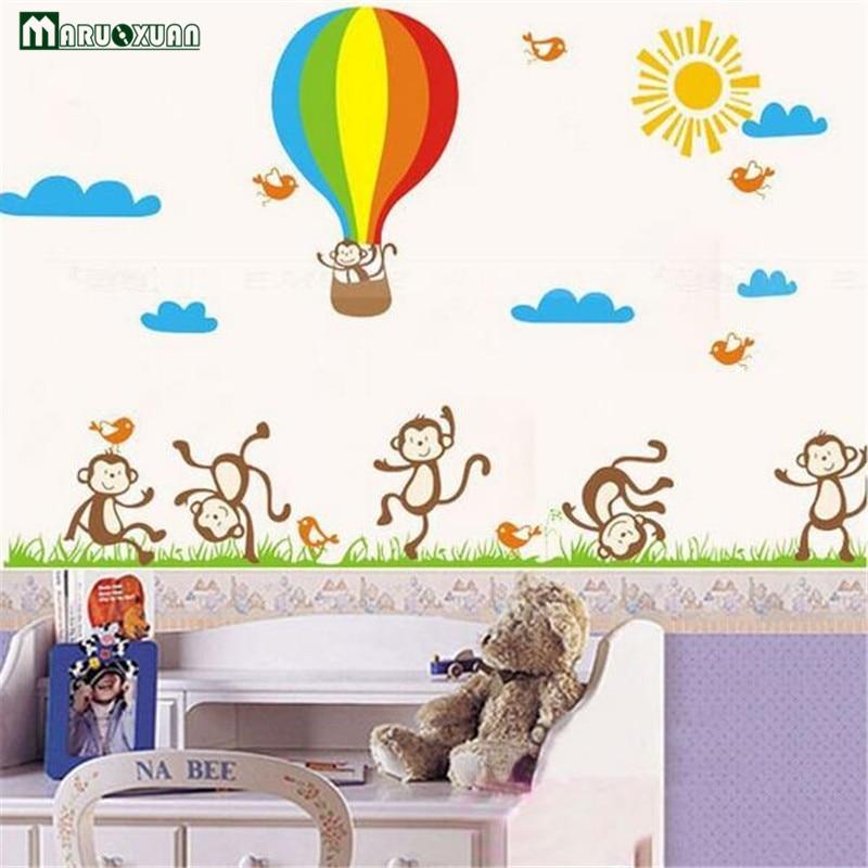 Maruoxuan Popular Cartoon Removable The Little Monkey Grassland Sun Shone Balloon Wall Stickers Children Room Art Wallpaper Beneficial To Essential Medulla Wall Stickers Home Decor