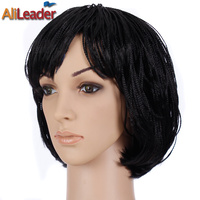 AliLeader Black Micro Braid Wig Short Hair Wigs For Women Crochet Braided Box Braids Hair Style Bob Synthetic Wigs For Summer
