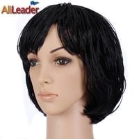 AliLeader Black Micro Braid Wig Short Hair Wigs For Women Crochet Braided Box Braids Hair Style Bob Synthetic Wigs For Summer