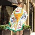 130*130cm 2017 100% twill silk Scarf Women Scarf Luxury Brand Shawl Scarves Print animal horse fashion Shawls Beach Cover-ups