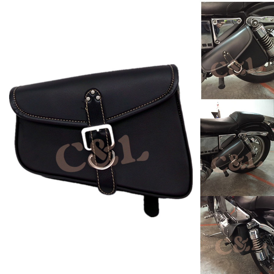 Prix pour Noir Moto PU Cuir Sacoche de Selle Sac Bagages Sac Fit Pour Harley Sportster XL 883 Sportster Hugger