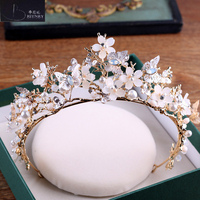 BRITNRY Vintage Flowers Crystal Pearls Wedding Headbands For Women Handmade Bride Headdress Hair Accessories