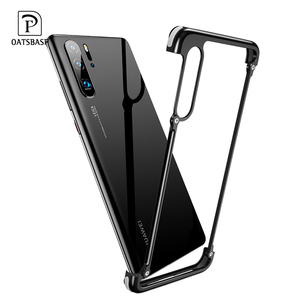 Image 1 - Hava Yastığı ile OATSBASF Metal Çerçeve şekli telefon kılıfı Için Huawei P30 P30 Pro lüks telefon tampon anti bırak Ve Darbeye Dayanıklı telefon kılıfı