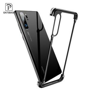 Image 1 - OATSBASF עם כרית אוויר מתכת מסגרת צורת טלפון מקרה עבור Huawei P30 P30 פרו יוקרה טלפון פגוש אנטי ושחרר עמיד הלם טלפון מקרה