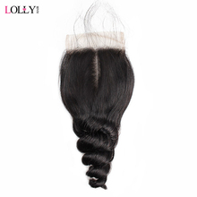 Lolly Peruvian Loose  Wave Closure 1 Pcs Human Hair Lace Closure Free/Middle/Three Part Non Remy Hair Closure With Baby Hair