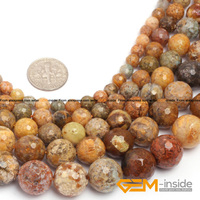 Round Faceted Multicolar Agate Beads Selectable Size 6 8 10 12 MM 14mm Natural Stone Bead