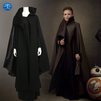 MANLUYUNXIAO Women Star Wars 8 Princess Leia Cosplay Costume Deluxe Outfit Black Dress Halloween Costumes For
