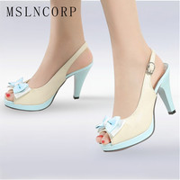 size 34 45 Fashion Women Sandals sexy peep toe bow slingbacks woman summer shoes ladies high heels Bowknot Pumps Dress Wedding