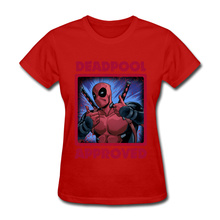 Deadpool T-Shirt Women Round Collar Top T-shirts Summer Fall Tops Shirt New Design Cotton Camise Girls Marval Avengers Tshirt
