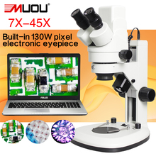 On sale MUOU Continuous zoom digital Stereo microscope can take pictures/Connect the computer/ with built-in 130W pixels USB microscope