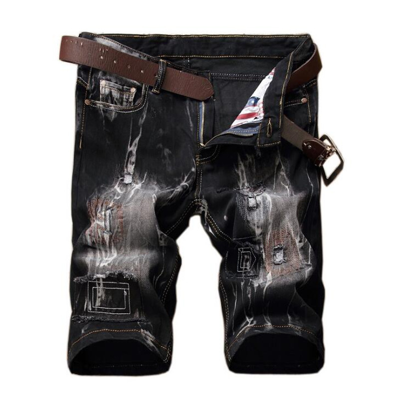 Brand Summer New Men Jeans Shorts 2018 Plus size Fashion Designers Retro Distressed Stretch Ripped Men's Jeans Shorts homme