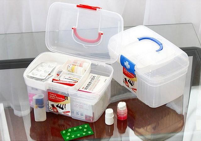 1PC Home Portable Medicine Chest Cabinet Health Care Plastic Drug First Aid  Kit Box Storage Box