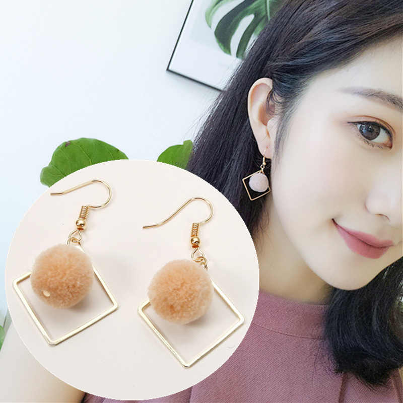 2019 New Hot Fashion Simple Plush Ball Brincos Oorbellen DIY Statement Geometric Square Hairball Drop Earrings For Women Jewelry
