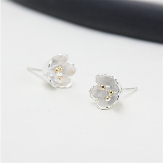 Jinse 100 925 Sterling Silver Earring Fashion Cute Gold Color Tiny Flower Stud Earrings Gift