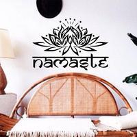 JJRUI Indian Woorden religie Vinyl Muurtattoo Slaapkamer Muursticker Lotus Bloem Yoga Studio Bohemian Home Decor
