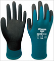6 pairs  18 Guage Blue Nylon Gardening Work Glove With Nitrile Sandy Dipped Safety Glove