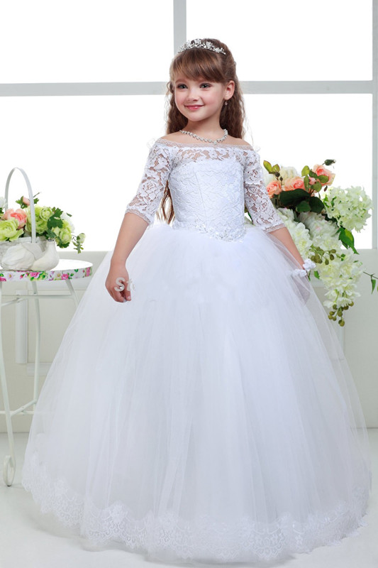 2019 Hot Sale Off Shoulder Lace Tulle Flower Girl Dresses With Sleeves Floor Length White Holy First Communion Dresses Ball Gown white lace details off shoulder bell sleeves crop top