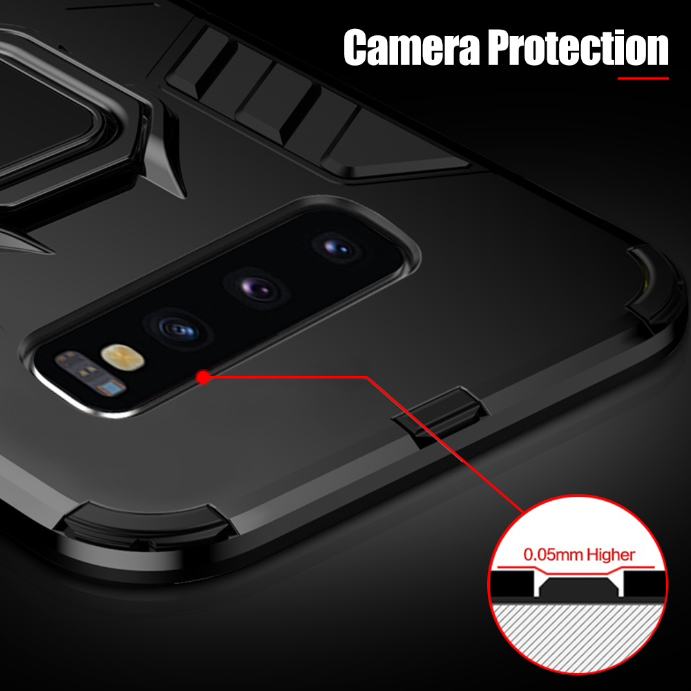 Clearance For Samsung Galaxy S10e Case Luxury Shockproof PC Protective Cover For Samsung S10 Plus Case Ring Car Holder Bracket in Fitted Cases from Cellphones Telecommunications