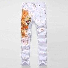 #1415 Весна Белый печатных джинсы Моды для мужчин Прямо король Лев Мужские байкерские джинсы марка Тонкий Джинсовые Jogger джинсы Pantalon homme