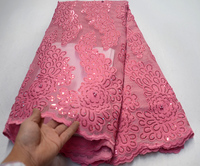 Pink African french tulle lace fabrics 2019 High Quality with beads Nigerian Sequins Embroidery French tulle lace fabrics