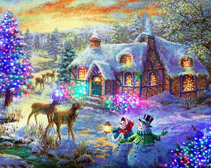 2017 cross stitch gift home decor The snow on Christmas Eve Full diamond Unfinished embroidery mosaic diy 5D diamond Painting