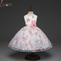 Pretty Knee Length Printed Flower Girl Dresses 2018 Pink Sash Communion Dresses Sleeveless Pageant Dresses For