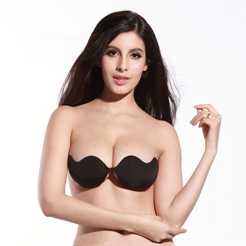 3de275e3904 Detail Feedback Questions about Women Front Closure Silicone Self Adhesive  Half Cup Wire Free Backless Strapless Seamless Push Up Bra For Female  Intimates ...