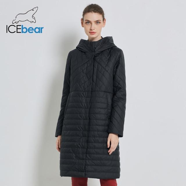 ICEbear 2019 New Long Women's Autumn Coat Casual Female Coats Hooded Women's Clothing Long Brand Jacket with Zipper GWC19039I 1