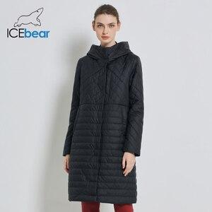 Image 3 - ICEbear 2019 جديد طويل المرأة معطف الخريف معاطف الإناث غير رسمية مقنعين المرأة ملابس طويلة ماركة سترة مع سستة GWC19039I