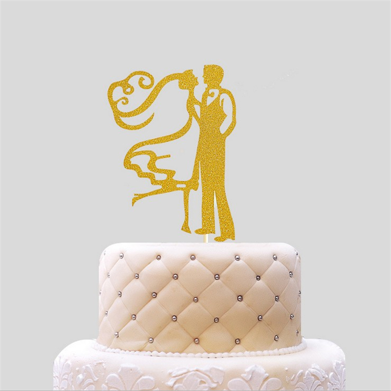 Gold Baking Supplies Bride Groom Cake Dolls Wedding Cake Topper