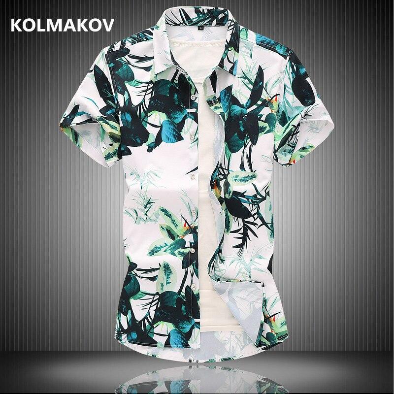2019 hommes impression style chemises d'été à manches courtes hommes chemises décontractées affaires 100% coton homme chemise de grande taille M-7XL CY070