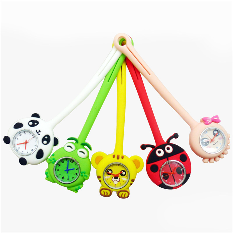 Animal Silicone Nurses Watch Fashion Brooch Tunic Fob Pocket 3D Cartoon Dial Watches Pendant Hanging Fob Watch Relogio cartoon animal women watch