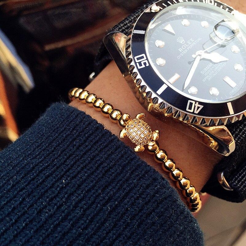 Bracelets Mens 4mm Beads Bracelet Micro Pave CZ turtle Tortoise Bracelet Braided Macrame Bracelets Luxury Men