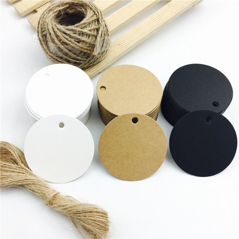 Unids/lote de etiquetas de papel Kraft para equipaje, color blanco, negro y marrón, tarjetas de boda redondas, papel para manualidades en blanco, etiquetas de regalo de 5*5cm, 100 unidades