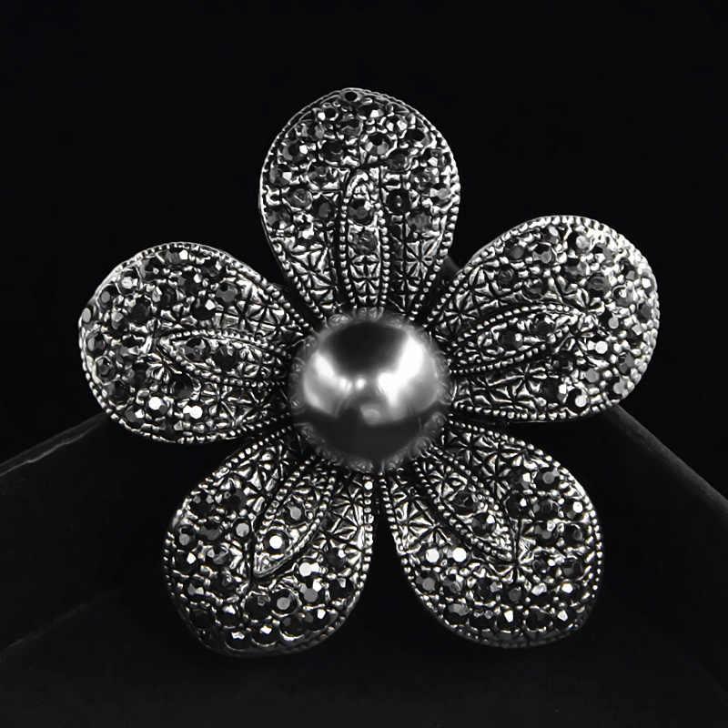 Vintage Plata Plateado Grande Flor Broche Pin Ramo de Diamantes de Imitación Boda Nupcial