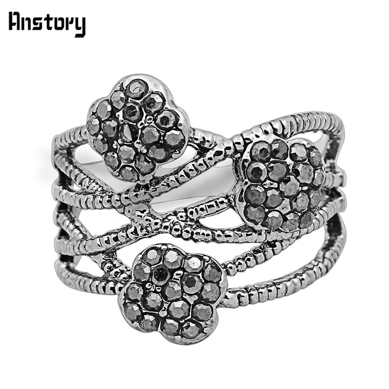 Cluster Plum Flower Rhinestone Rings For Women Vintage Antique Silver Plated Fashion Jewelry TR491
