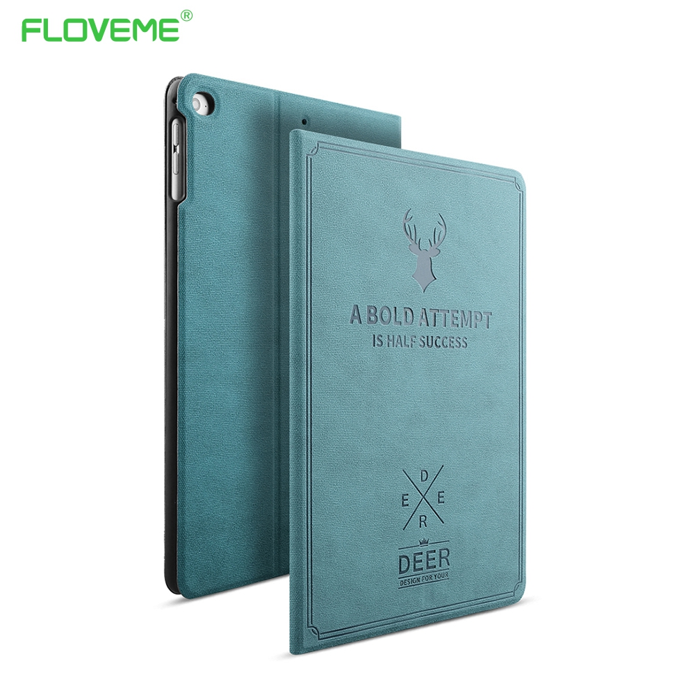 Floveme para apple ipad mini 1 2 3 4 case auto sono / wake up virar pu casos de capa de couro para ipad air 2 1 smart stand fólio case