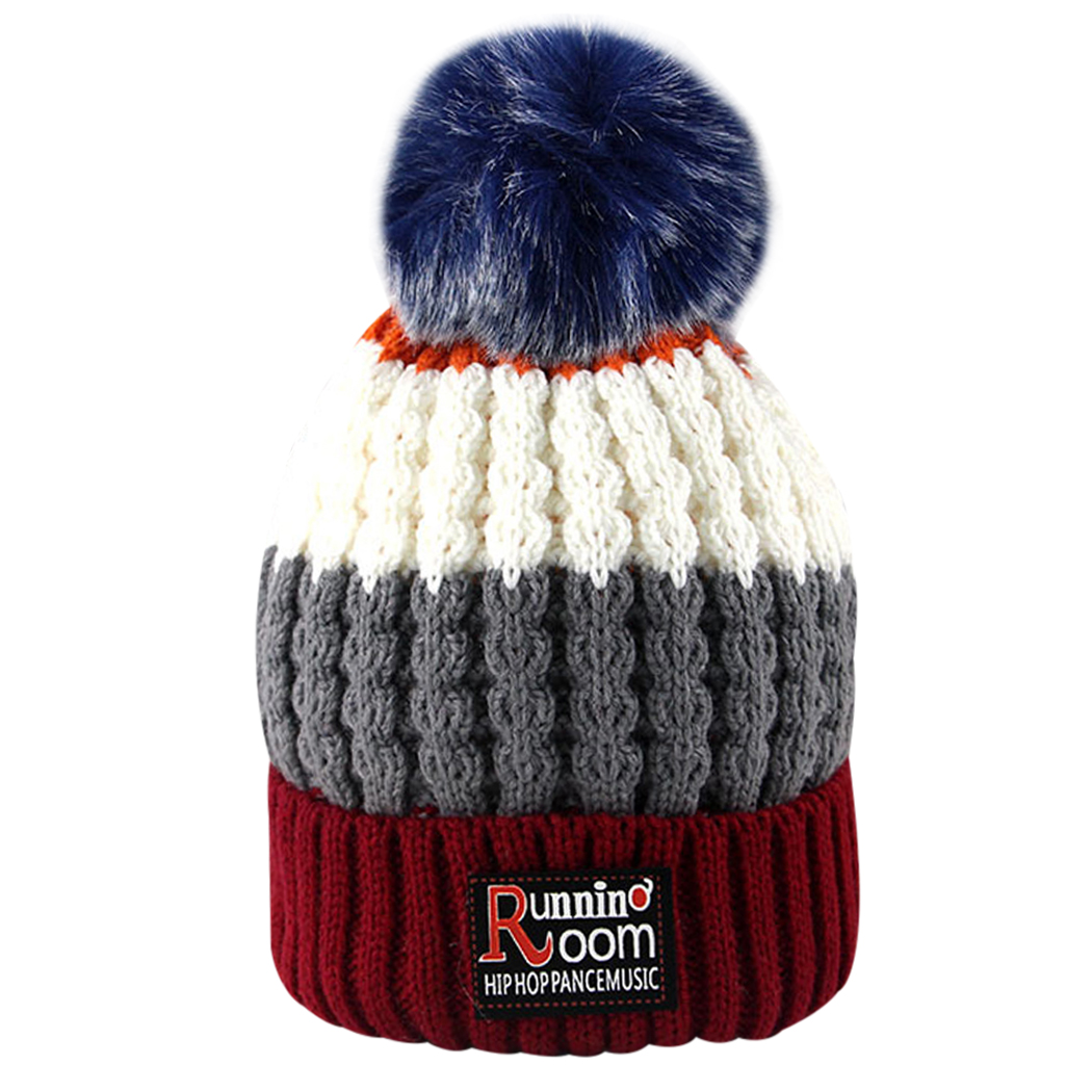 Hat For Kids Winter Knit Beanie Baby Hat For Boy Children Fur Pom Pom Hats For Girls Warm Muts Cap 1-5years