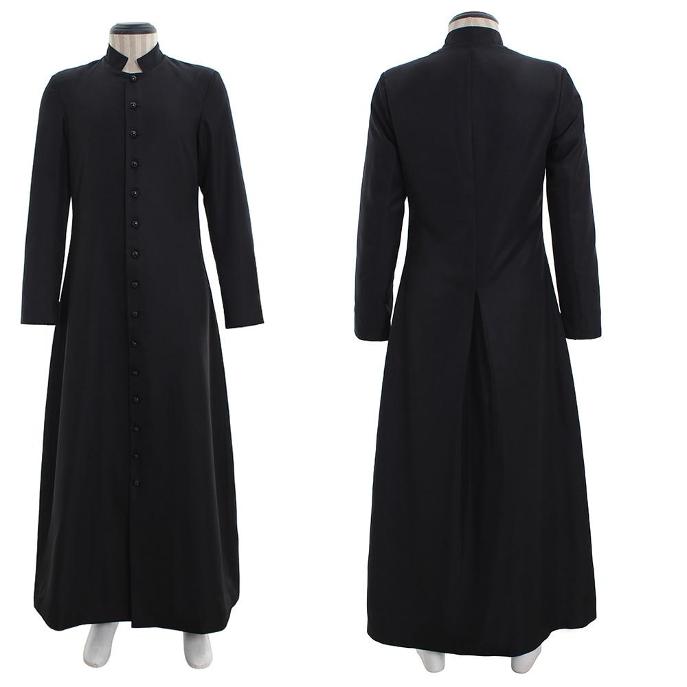 Cosplaydiy Wicca Pagan Ritual Robe Clergy Cassock Roman Orthodox Long Tabard Black &White Robu Coat L320