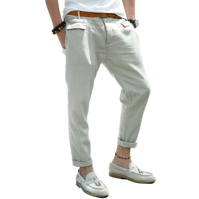 men trousers linen casual pants overalls male straight slim fit Ankle Length pants popular summer men's trousers cotton saints