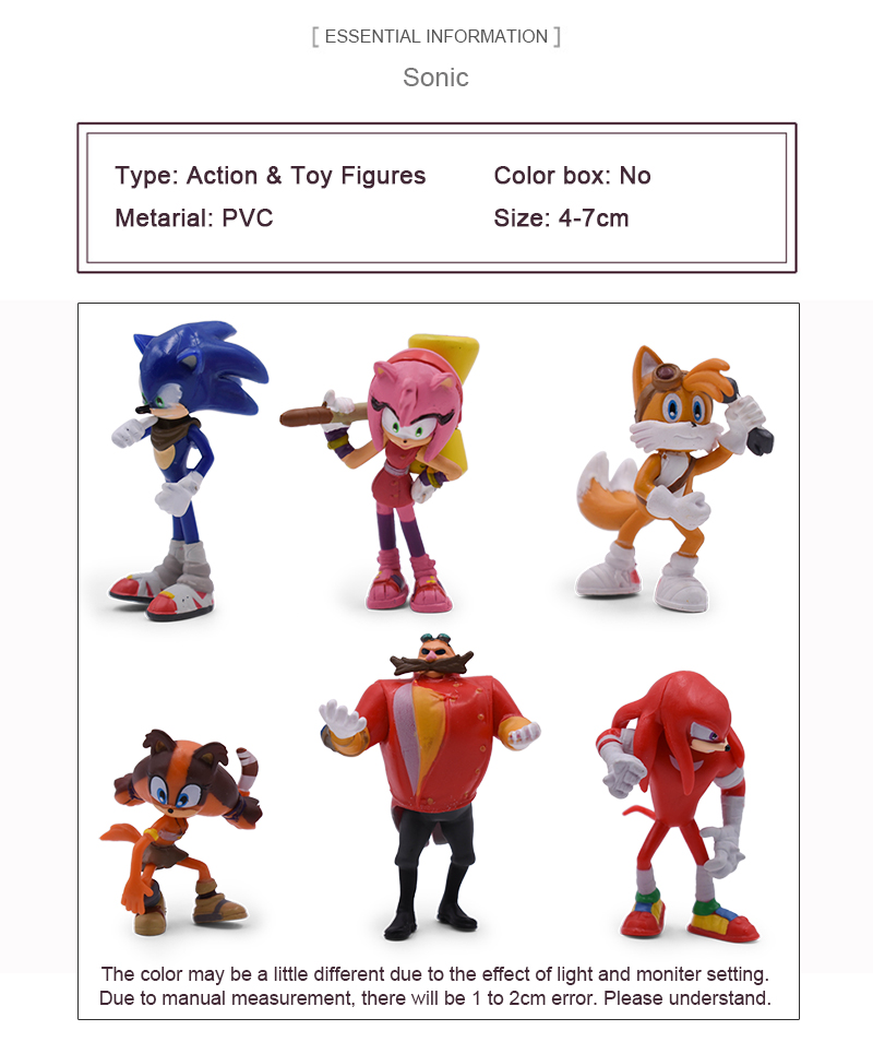 Sonic 6piece/set Doll Anime Figure Toys 4st Generation Boom Rare Dr Eggman  Shadow PVC Toy For Children Characters Gift 4-7cm